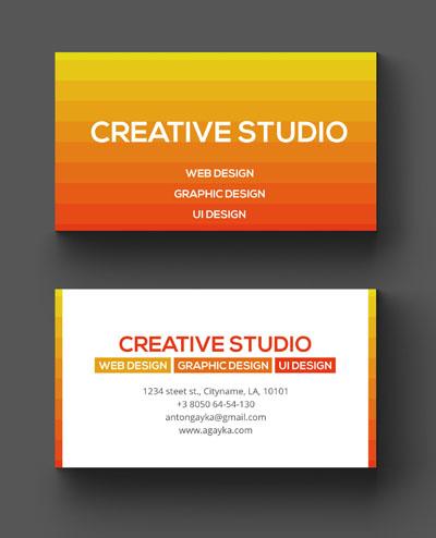 Макет визитки с оранжевым фоном