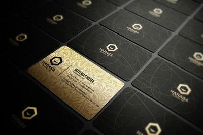 Макет визитки золотого цвета