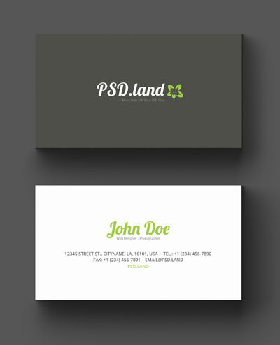 Простой макет визитки серо-белого цвета