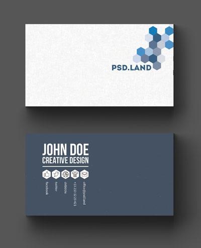Макет визитки с сотами синего цвета