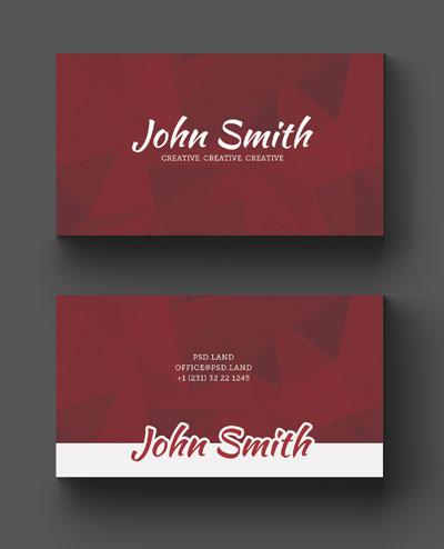 Макет визитки красного цвета