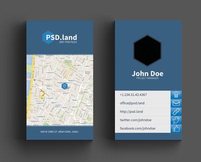 Макет визитки с шестиугольником и картой