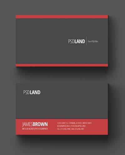 Простой макет визитки серо-красного цвета