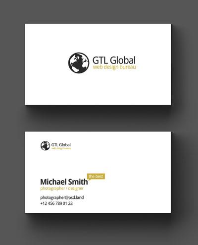 Легкий макет визитки с белым фоном