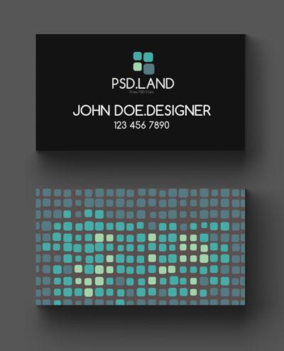Макет визитки с квадратами на фоне