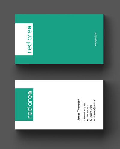 Макет визитки зеленого цвета
