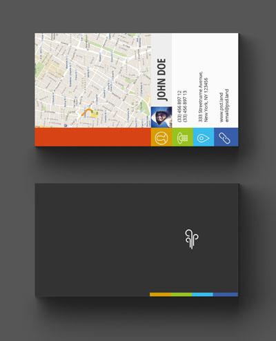 Макет визитки с яркими иконками и картой
