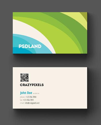 Макет визитки с ярким фоном синего и зеленого цвета