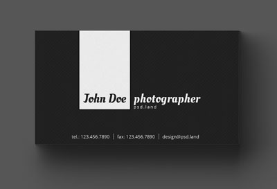 Макет визитки фотографа с серым фоном