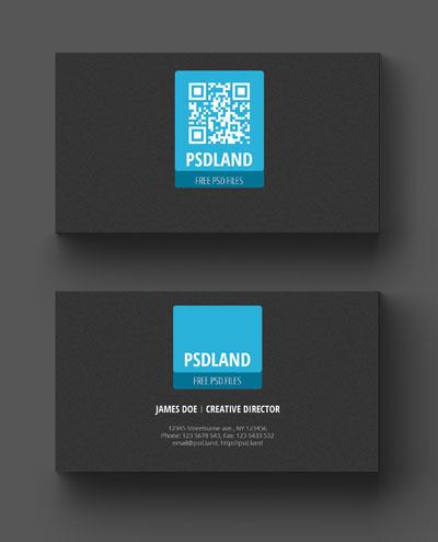 Макет визитки с серым фоном и голубым квадратом