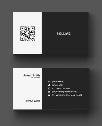 Макет визитки черно-белого цвета