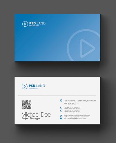 Макет визитки голубого цвета с градиентом