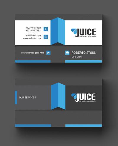 Макет визитки с синими элементами