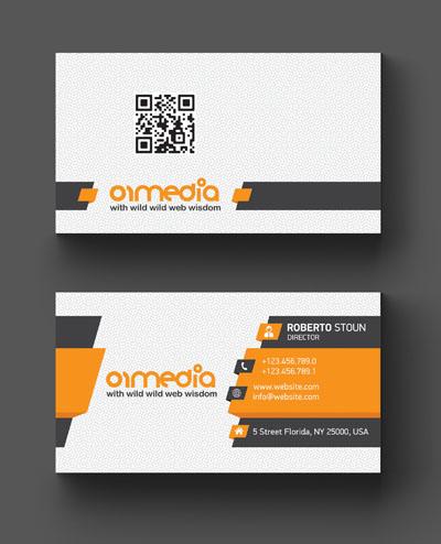 Макет визитки серо-оранжевого цвета