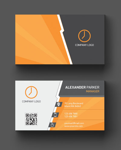 Макет визитки с часами и оранжевым фоном