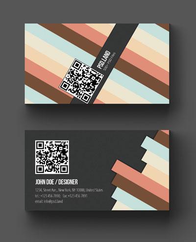 Макет визитки с диагональными яркими полосами