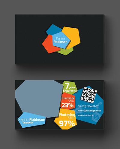 Макет визитки с разноцветными бесформенными блоками