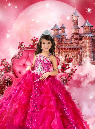 Детский шаблон с принцессой в розовом платье