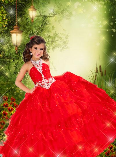 Детский макет принцессы в красном платье