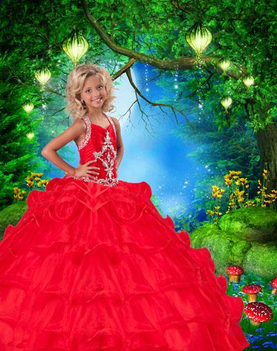 Детский шаблон с принцессой в красном платье