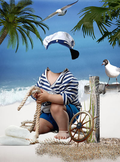 Детский шаблон с моряком