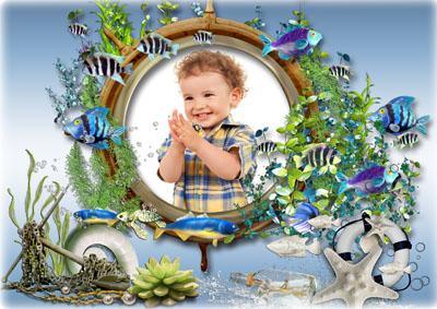 Детская морская круглая рамка
