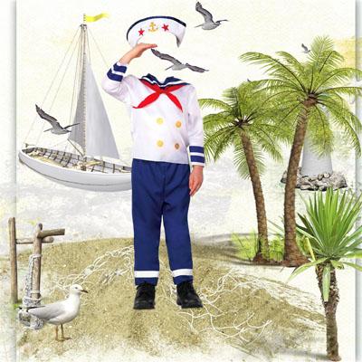 Детский шаблон - моряк на фоне яхты
