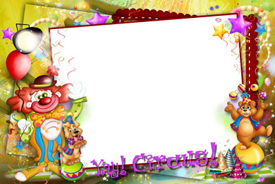 Детский макет-рамка с клоунами