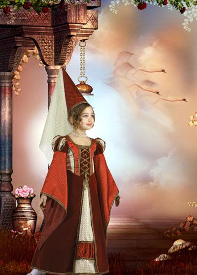 Детский шаблон: Дама из средневековья