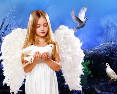 Детский  шаблон: Девочка ангел с голубями