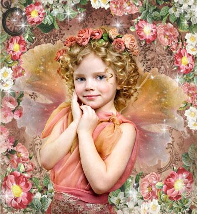 Детский макет с рамкой и ангелом