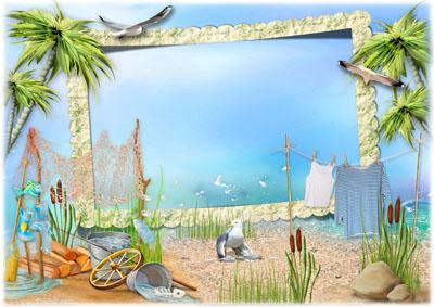 Детский морской шаблон-рамка