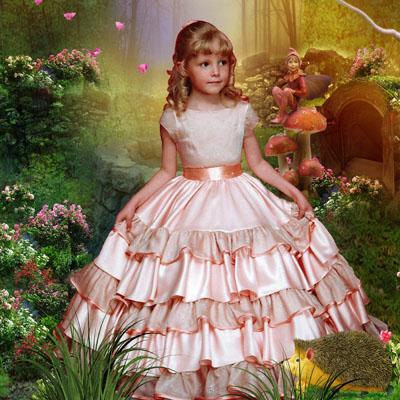 Детский шаблон для фотомонтажа: принцесса в лесу