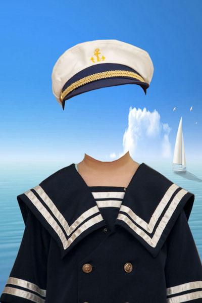 Маленький капитан - морской детский шаблон