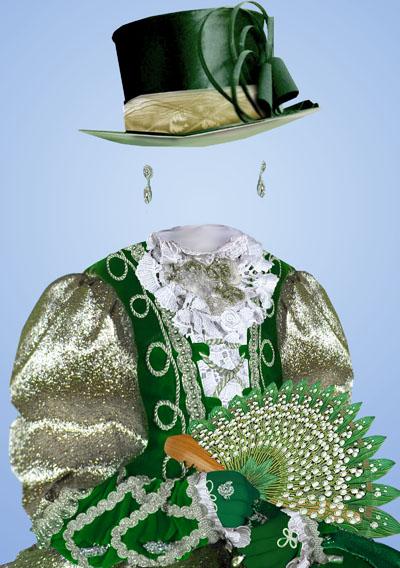 Детский макет со знатной леди в зеленом платье