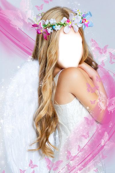 Детский шаблон с девочкой-ангелом