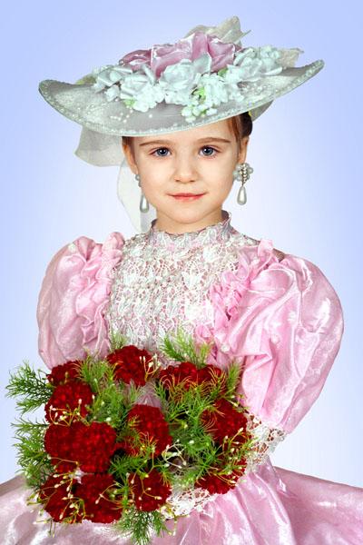 Детский макет для девочки в виде леди в шляпе