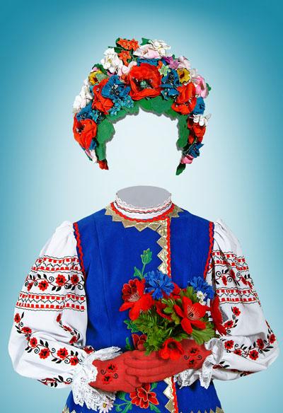 Детский шаблон для девочки в национальном костюме