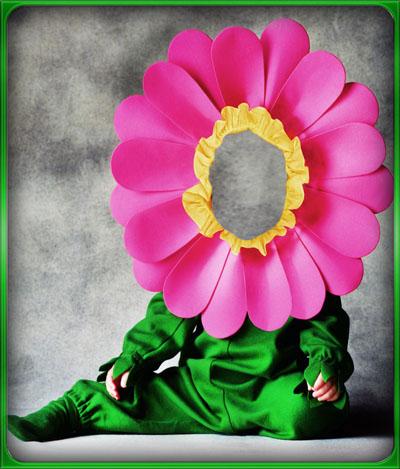 Детский шаблон - ребенок в костюме цветка ромашки