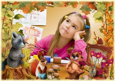 Детская осенняя рамка с осенними листьями и зверушками