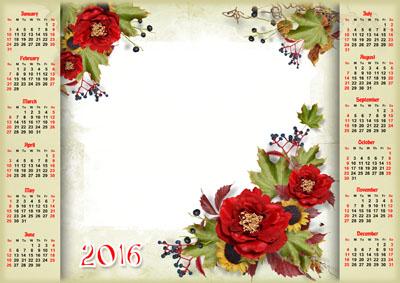 Календарь на 2016 год с розами