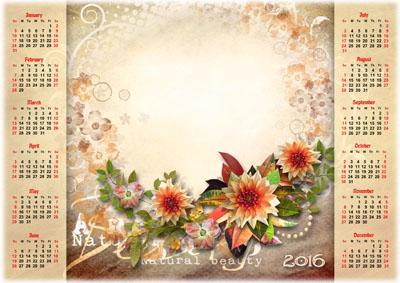 Календарь на 2016 год с цветами на бежевом фоне