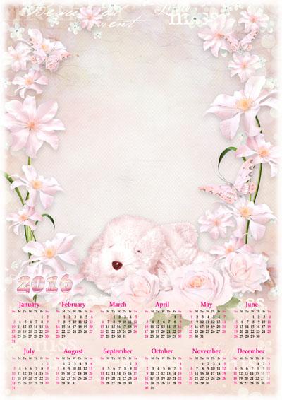 Календарь на 2016 год с нежными розовыми цветами