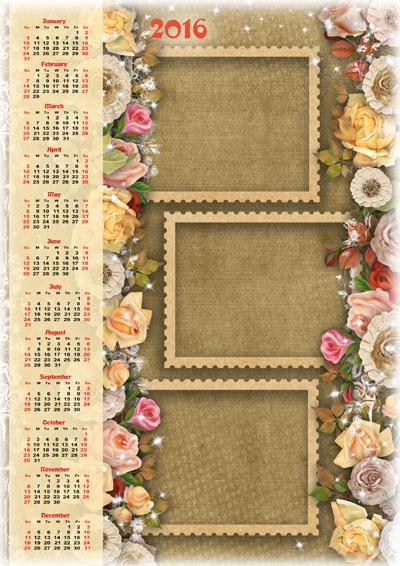 Календарь на 2016 год с тремя рамками на бумажном фоне с цветами