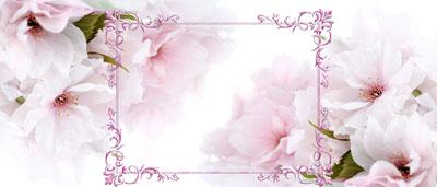 Кружка с 8 марта с белыми цветами и рамкой