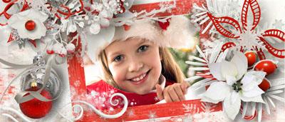 Кружка новогодняя с рамкой для девочки