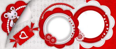 Кружка для влюбленных с двумя круглыми рамками