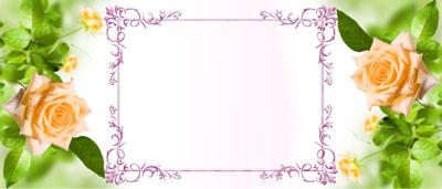 Кружка с чайными розами и рамкой