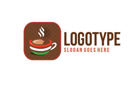 Логотип PSD с кружкой кофе