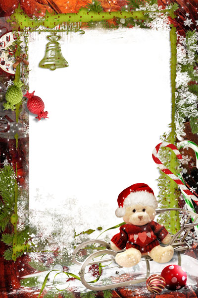 Новогодняя рамка со снегом и кружкой